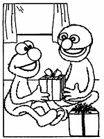 Elmo Give On The Christmas Coloring Pages Printable