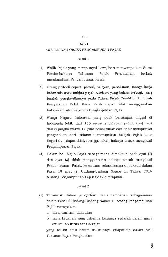 Peraturan Dirjen Pajak Nomor PER-11/PJ/2016 Tahun 2016, Aturan Baru Mengenai Pengampunan Pajak