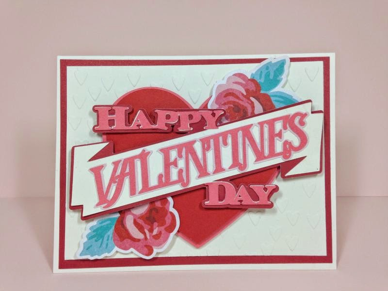 Cricut Valentine's Day rose heart card
