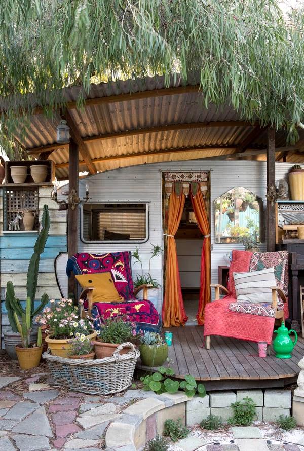 Porche de caravana bohemia