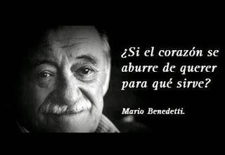 """""""¿Si el corazón se aburre de querer, para qué sirve?"""" Mario Benedetti"""