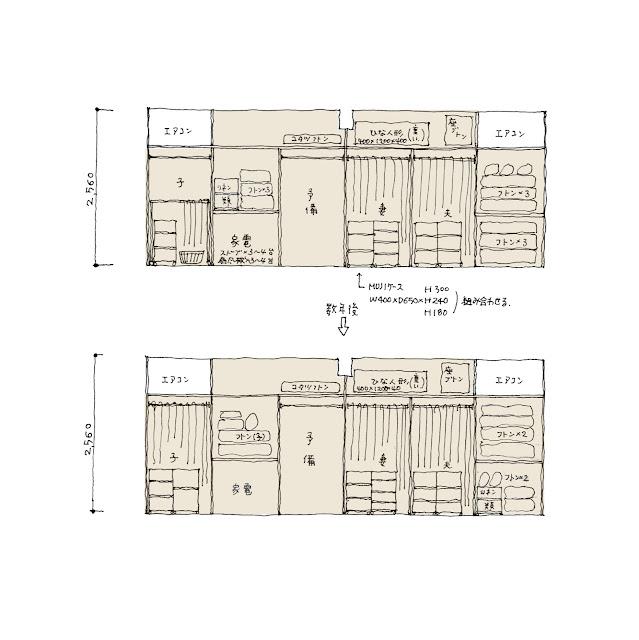 狭小都市型二世帯住宅の収納計画をとおして 収納計画 子世帯 寝室周り