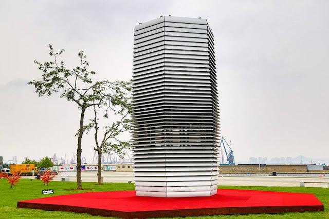 Massive air purifier installed outside World Economic Forum venue