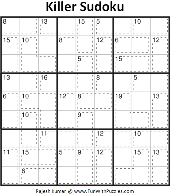 Killer Sudoku Puzzle (Fun With Sudoku #376)