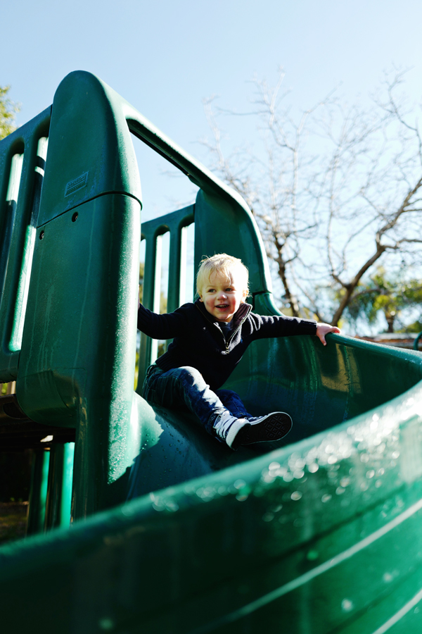 Playground slide at Shoup Park, Los Altos