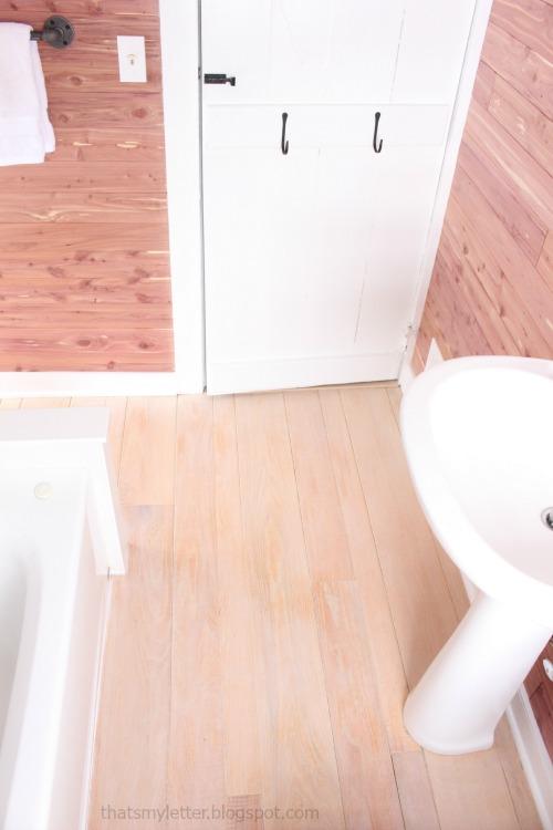 diy bathroom makeover stripped wood floor