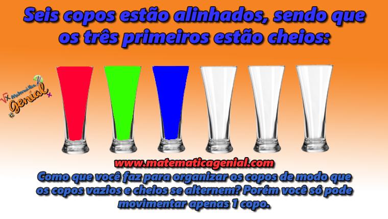 Desafio - Seis copos estão alinhados, sendo que os três primeiros...