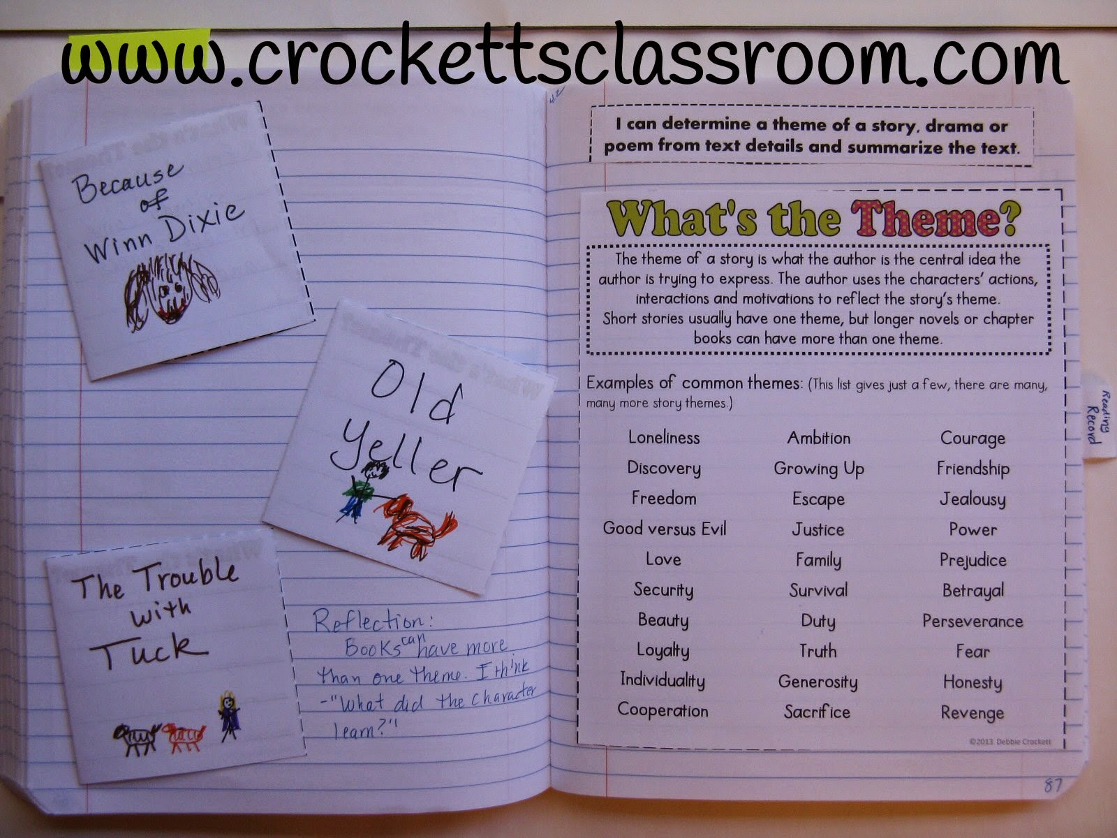 Interactive notebook page to introduce the theme of a book or story.