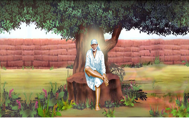 Best Lord Sai Baba Sitting Under Tree HD Wallpaper