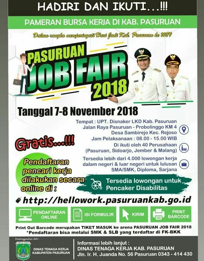 Lowongan Kerja PASURUAN Job Fair Tanggal 7-8 November 2018 (Gratis)