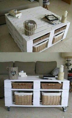 mesa ratona con ruefas hecha con palets de madera