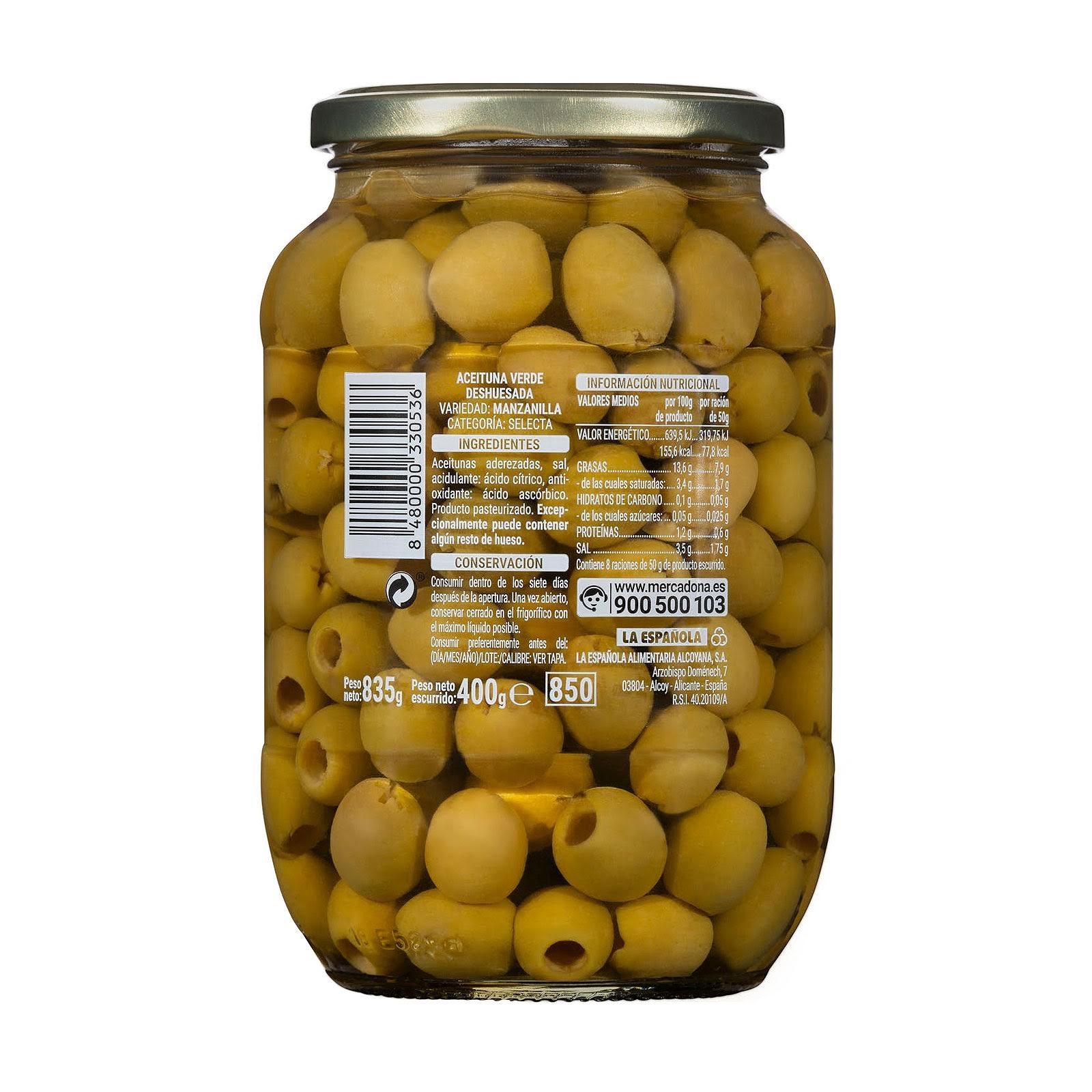 Aceitunas verdes manzanilla sin hueso Hacendado