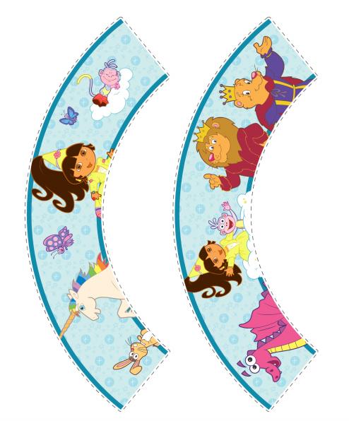 Dora Princesa: Toppers y Wrappers para Cupcakes para Imprimir Gratis.