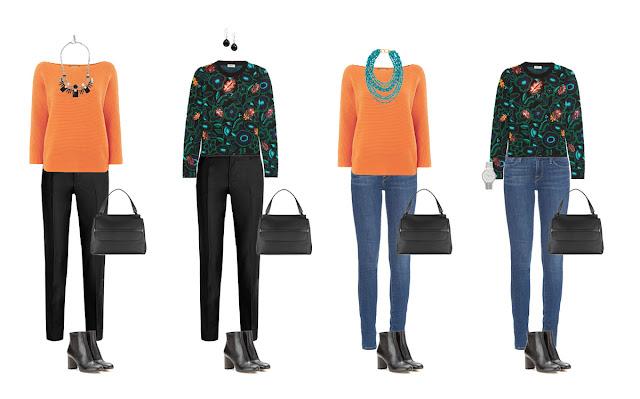 Комплекты капсульного гардероба с цветными свитерами