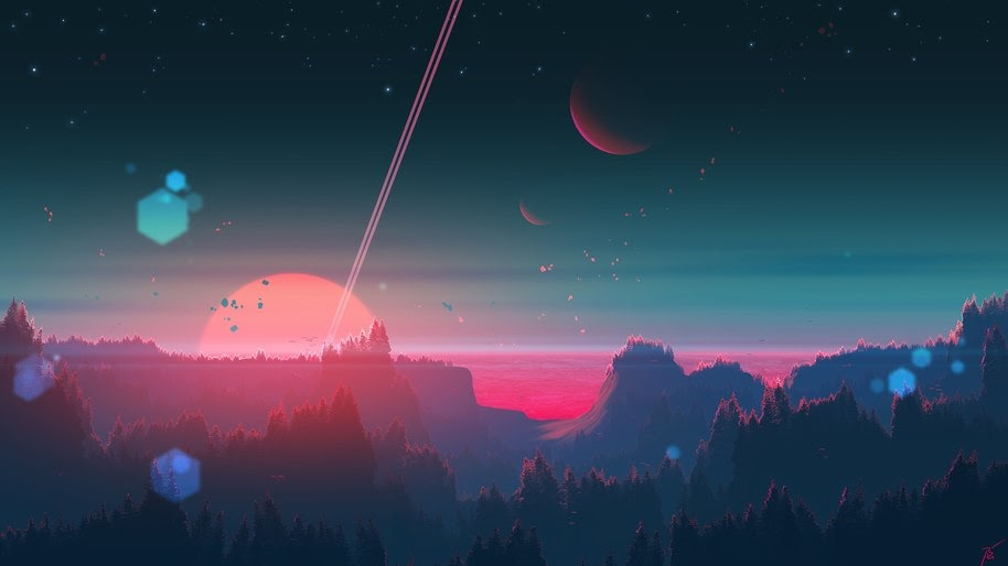 Sunset, Scenery, Forest, Horizon, Digital Art, 4K, #89
