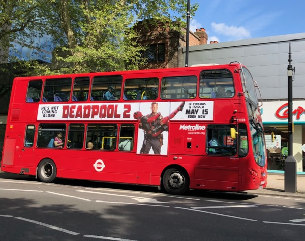 Deadpool 2 Cable London bus ad