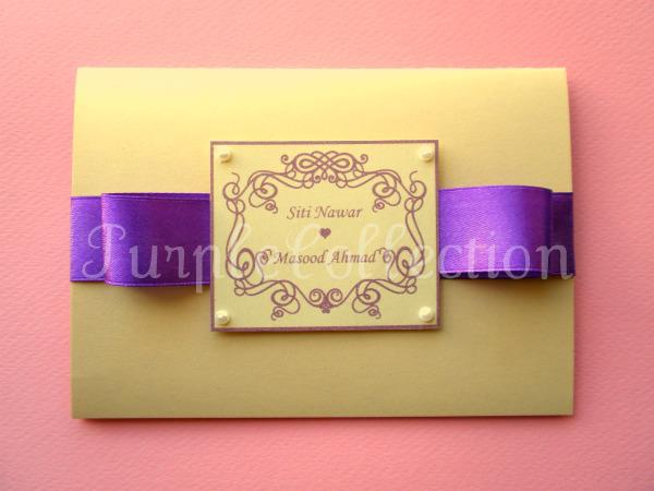 Best Seller Wedding Invitation Card + Map, wedding invitation cards, malay wedding cards, best seller wedding card, purple ribbon card