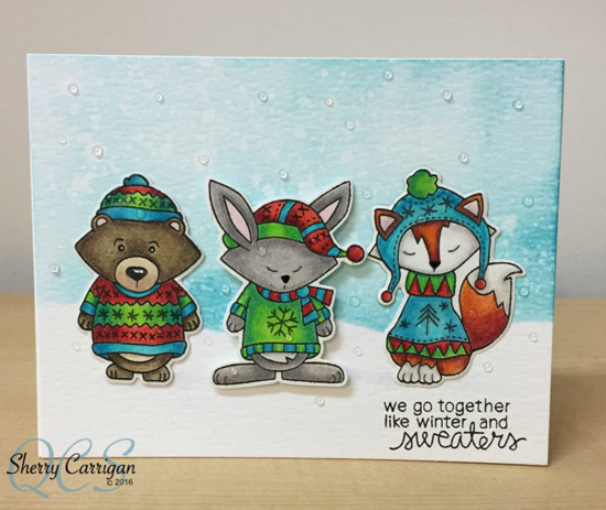 Inky Paws Challenge 38 Winner |  Cute animals in Sweaters card by Sherry Carrigan | Sweater Weather stamp set by Newton's Nook Designs #newtonsnook