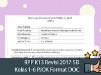 RPP K13 Revisi 2017 SD Kelas 1-6 PJOK Format DOC