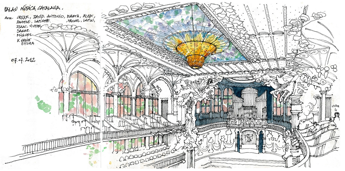 11-Barcelone-palais-de-la-Musique-Catalane-Gérard-Michel-Urban-Architectural-Drawings-from-your-Teacher-www-designstack-co