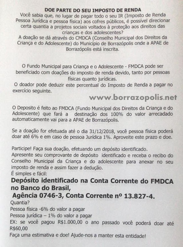 Doe parte do seu imposto de renda para a APAE de Borrazópolis