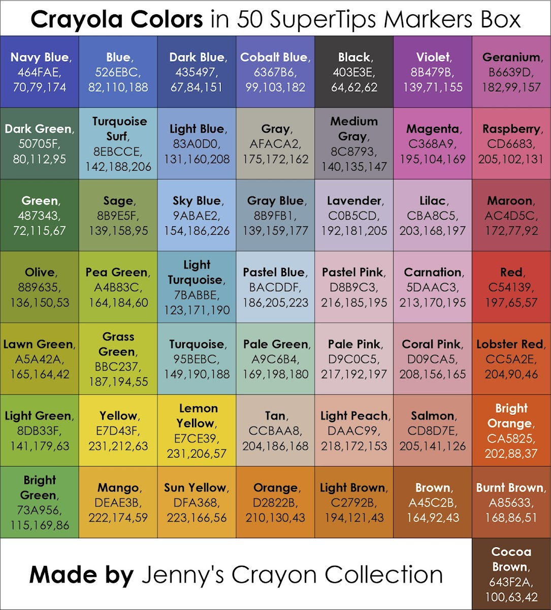 List Of Current Crayola Marker Colors Jennys Crayon Collection