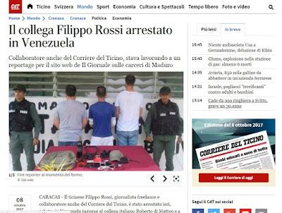 Dos de los periodistas detenidos este sábado en Tocorón trabajan para medios italianos, y la prensa de ese país destacó la noticia en primera plana de sus sitios web.  El italia