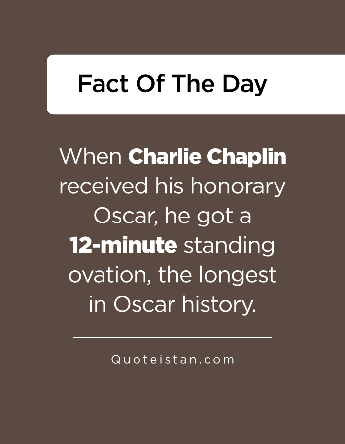 When Charlie Chaplin received his honorary Oscar, he got a 12-minute standing ovation, the longest in Oscar history.