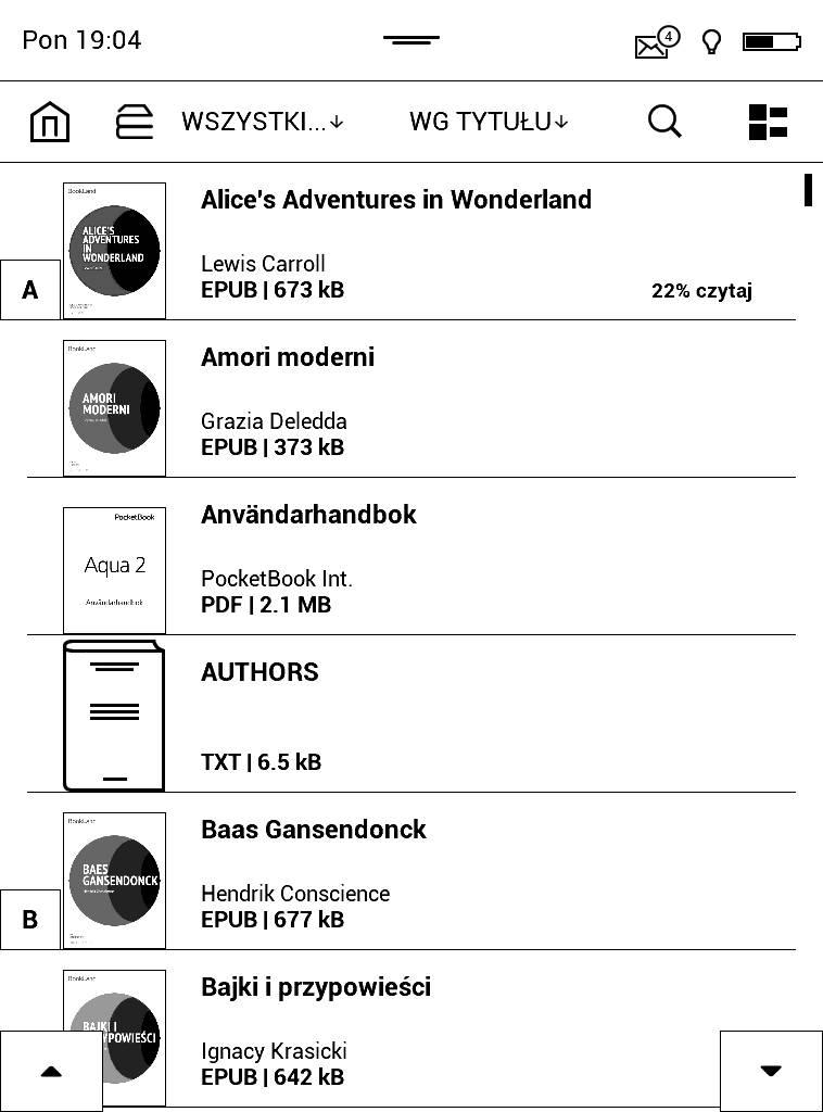 PocketBook Aqua 2 – zrzut ekranu widoku biblioteku w trybie listy