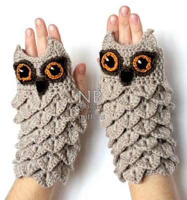 Owl Crocheted Fingerless Gloves