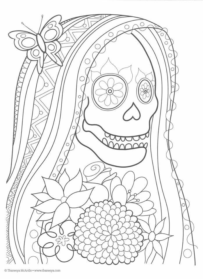 Dibujos Para Colorear Dia De Muertos Ii