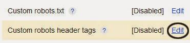 Custom Robots Header tags di Blogger