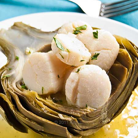Artichoke Scoops with Poached Scallops