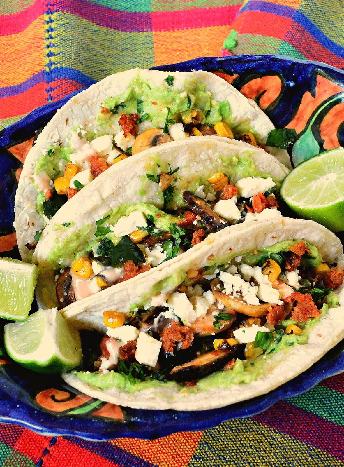 Corn, poblano and mushroom tacos with chorizo
