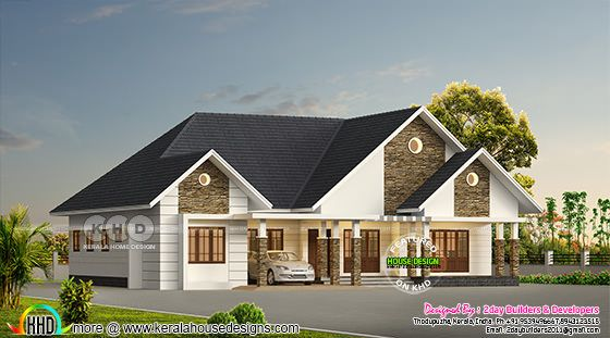 Sloping roof 4 bedroom bungalow architecture