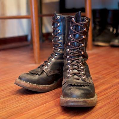 3年履き込んだブラックタイレザーのウエスコ製、パッカー。経年変化もお見事です!
