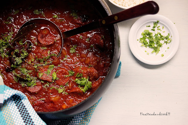 how to make Spanish Chorizo and Potato Curry recipe and preparation with step by step photos