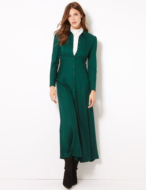 marks and spencer long sleeve shirt maxi dress