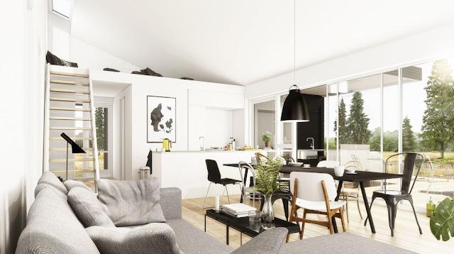 Interiør, Q-model, stue, alrum, køkken, hems
