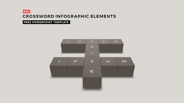 Crossword Puzzles Infographic Elements with 5x5 User's input for PowerPoint Templates