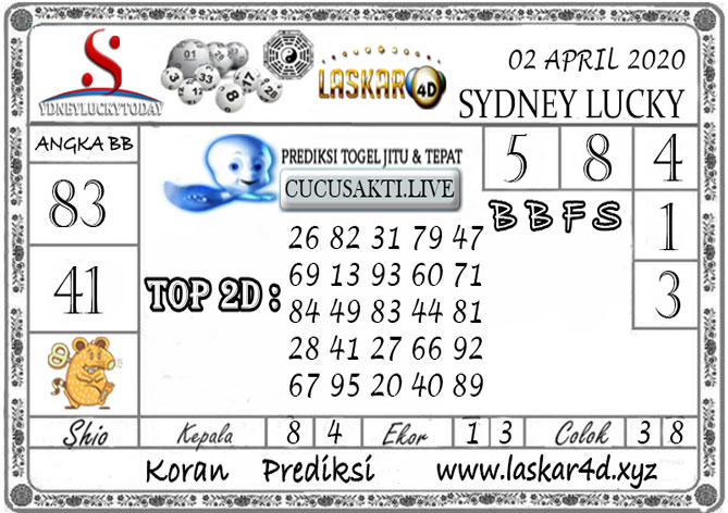 Prediksi Sydney Lucky Today LASKAR4D 02 APRIL 2020