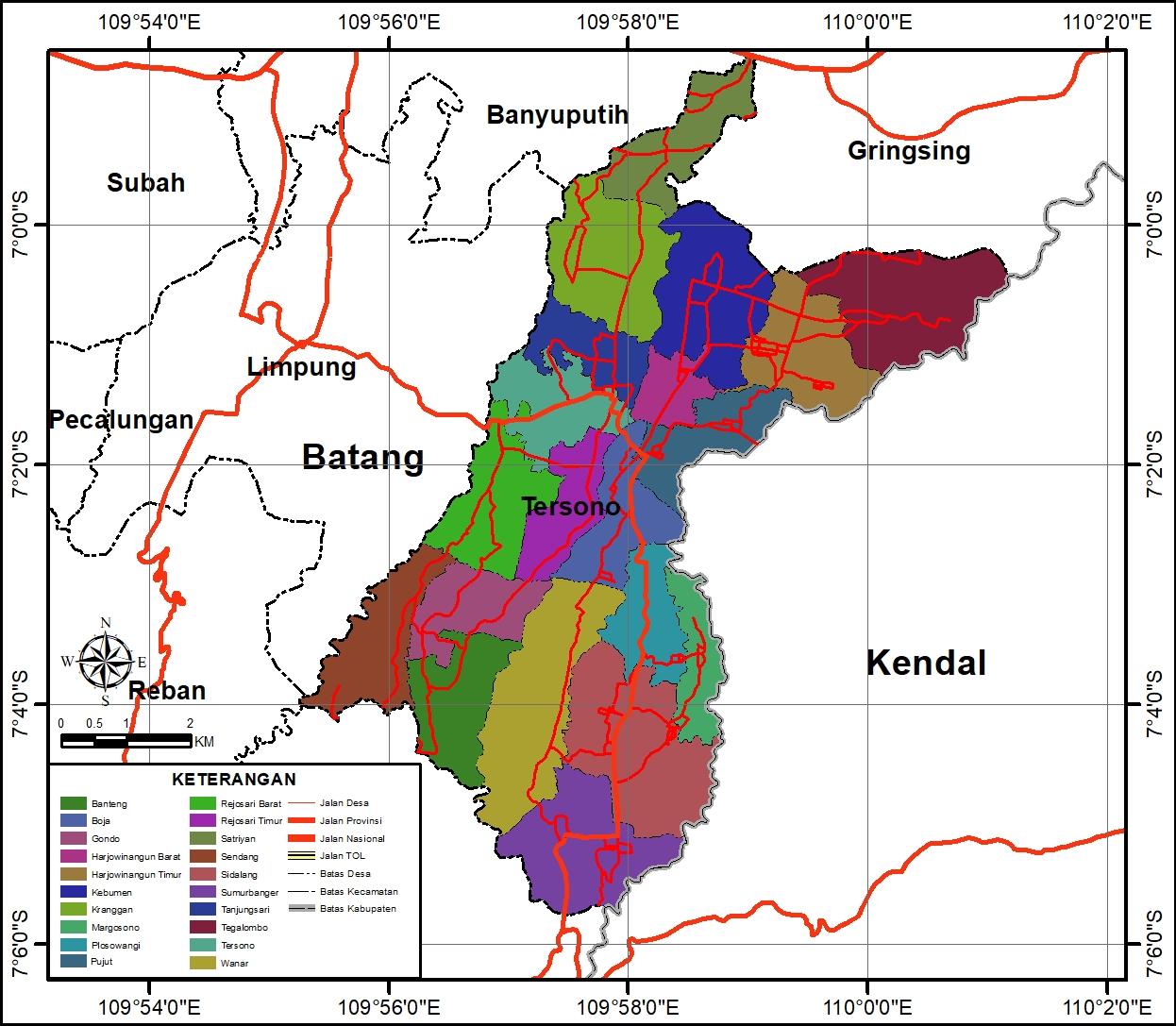 Peta Administrasi Kecamatan Tersono, Kabupaten Batang ...