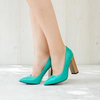 Pantofi dama Piele Ruest verzi cu toc gros • modlet