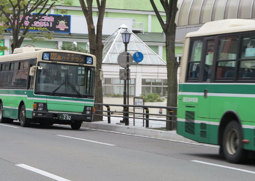 Buses on the streets of Akita city