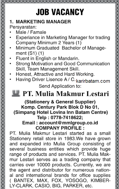 Lowongan Kerja PT. Mulia Makmur Lestari