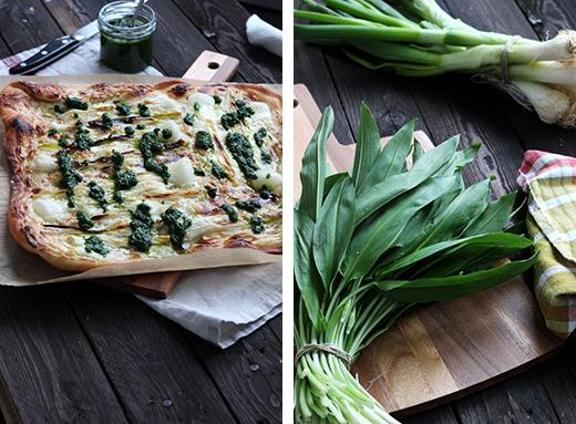 Rezept Frühlingszwiebel-Flammkuchen mit Bärlauch Holunderweg18 Foodblog