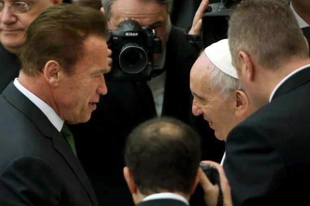 Arnold Schwarzenegger Meets Pope Francis at the Vatican
