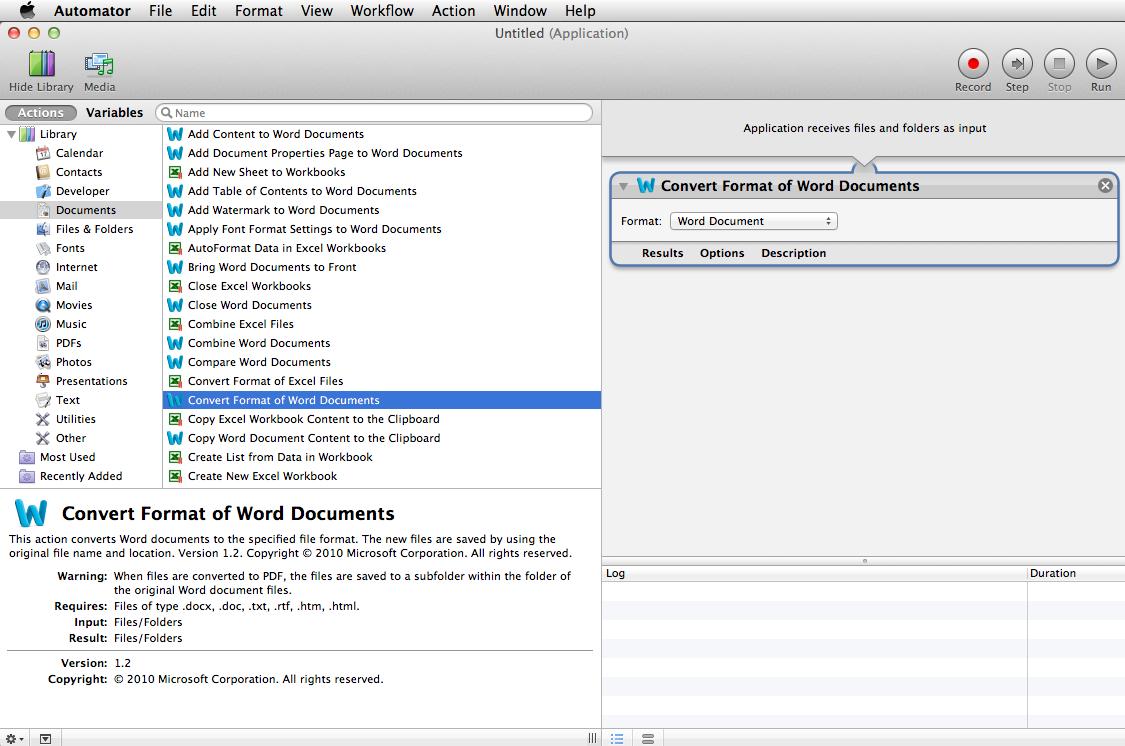 CafeTran4Mac: Batch Converting Word Files Using Automator