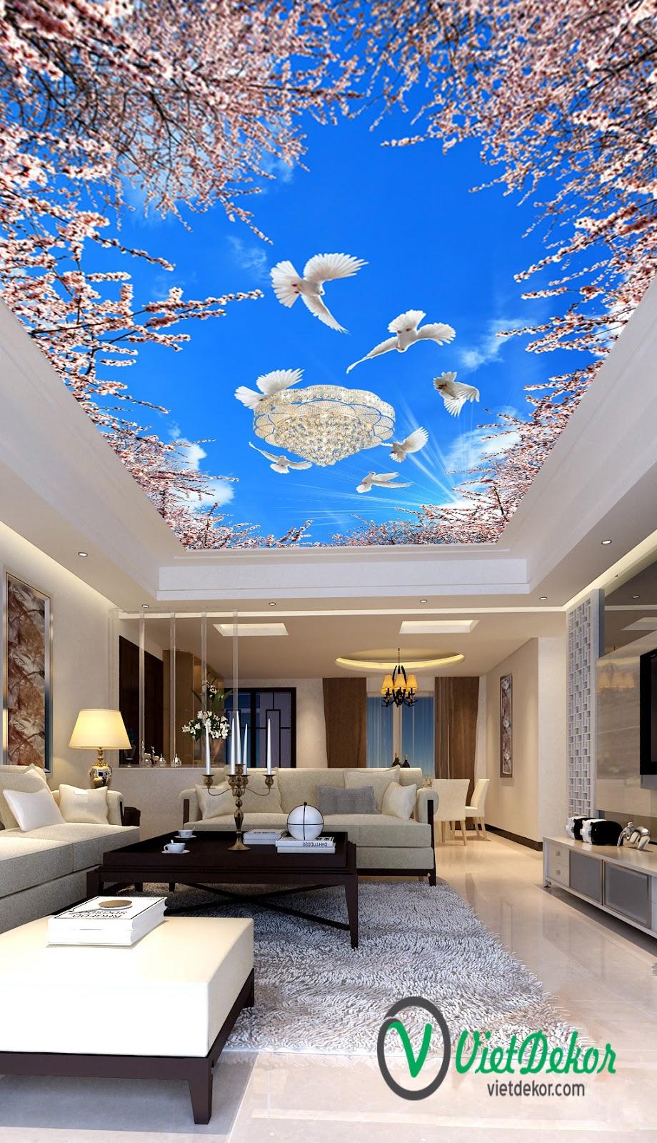 Tranh trần 3d bầu trời xanh cò bay hoa đào nở