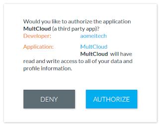 Разрешение для MultCloud.com иметь доступ в аккаунт Copy.com